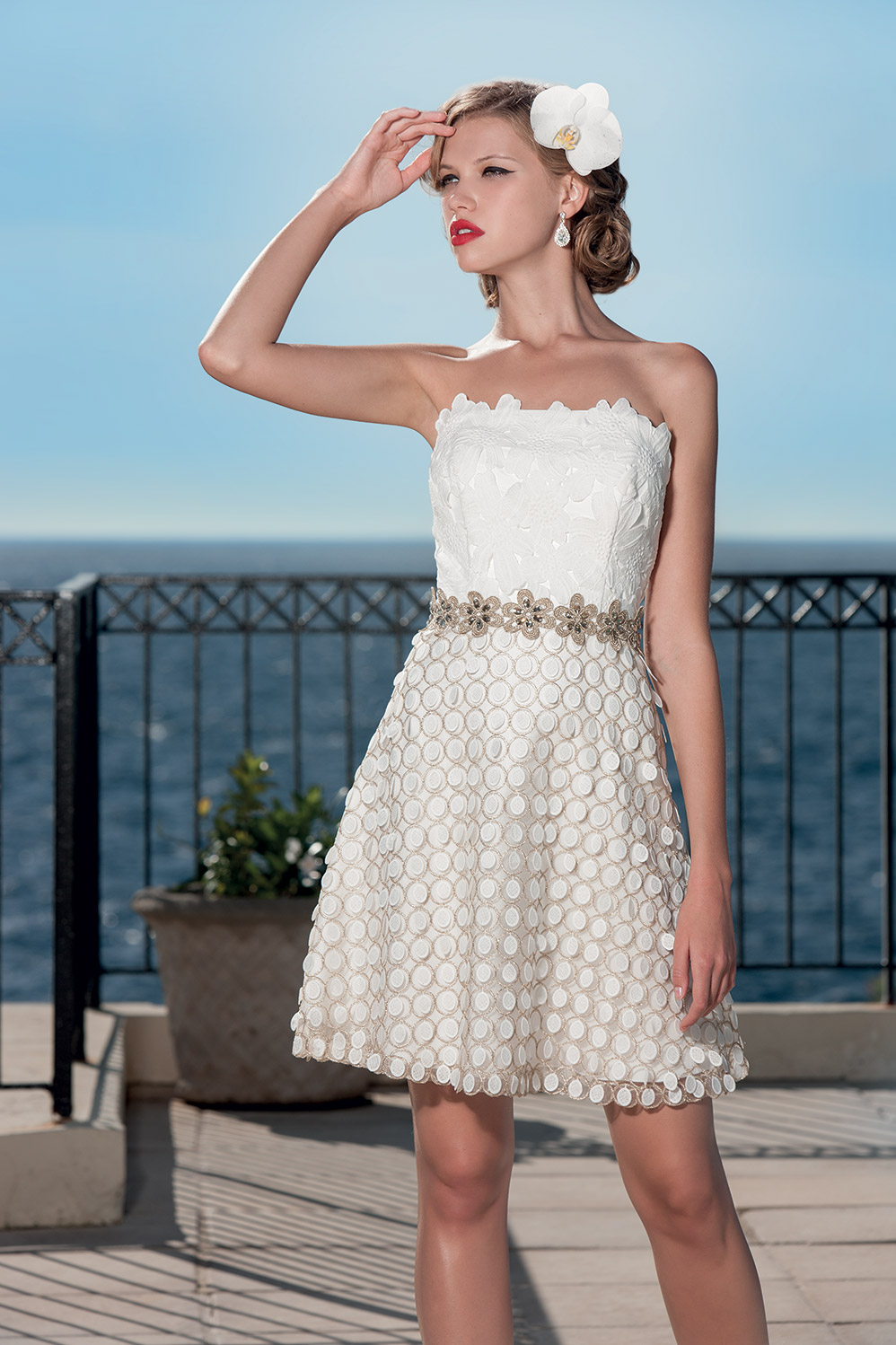 Robe bustier blanche cocktail