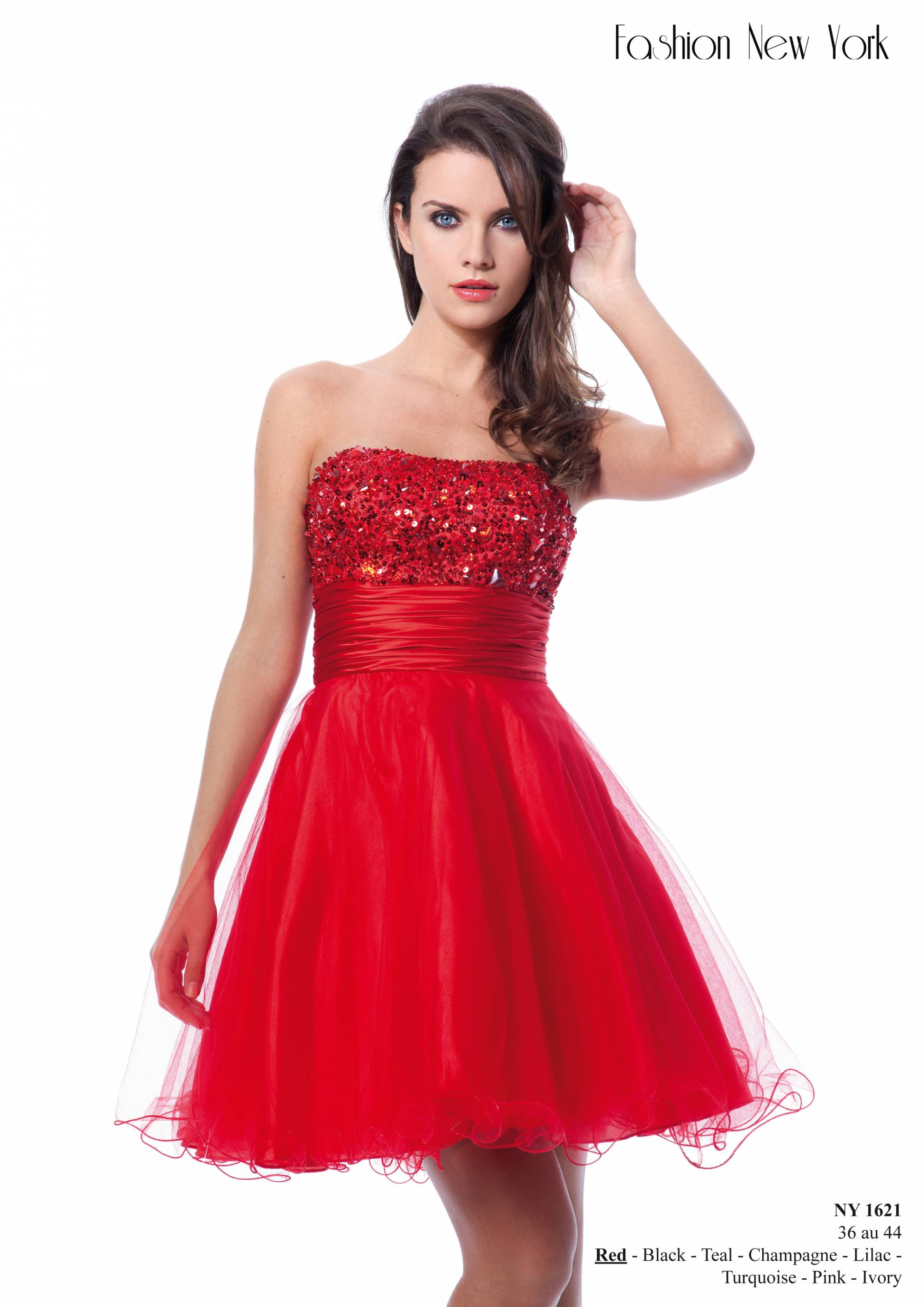 Robe de cocktail rouge bustier