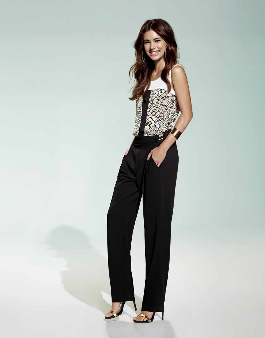 Collection printemps t 2015 et pantalon noir fluide pour for Pantalon carreaux noir et blanc