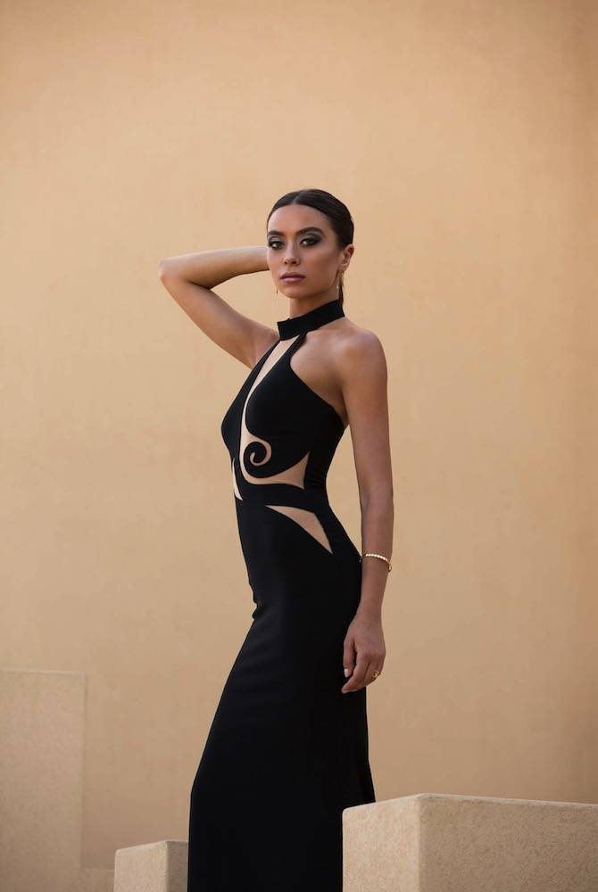 robe longue de cocktail noir collection 2017