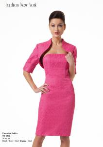 ensemble de ceremonie , fashion new-york , robe et bolero ,fushia , noir ou blanc nacré , 249 €