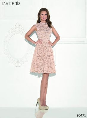robe courte de cocktail rose pâle profil